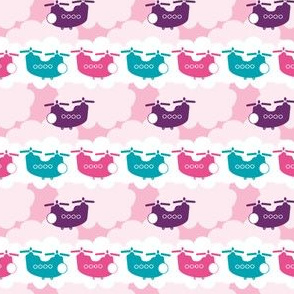CH-47 Chinook Army Helicopter Cloud Stripe - pink/plum/teal