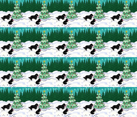 Decorating the Tree the Newfy Way fabric by dogdaze_ on Spoonflower - custom fabric