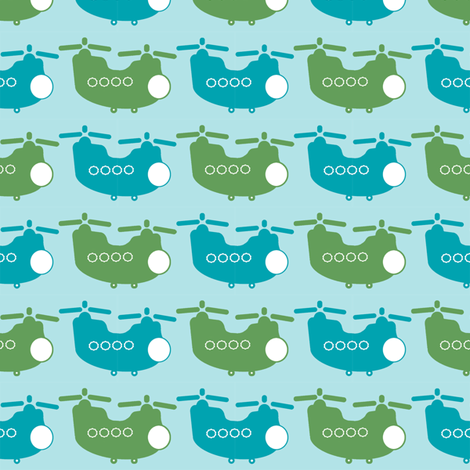 Chinook Helicopters - Blue/Green fabric by joybucket on Spoonflower - custom fabric
