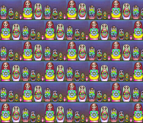 Russian dolls in rainbow colour on line fabric by vinkeli on Spoonflower - custom fabric