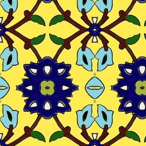 flowertile yellow-turquise