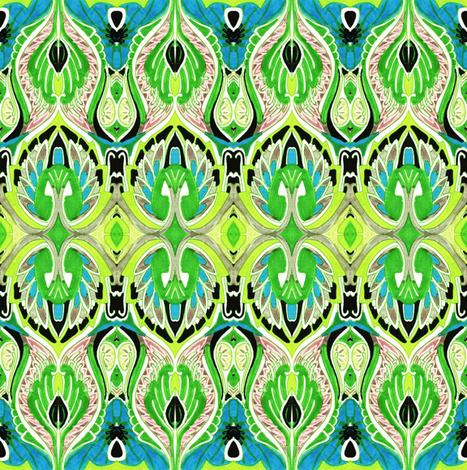 So sari (lime/cyan) fabric by edsel2084 on Spoonflower - custom fabric
