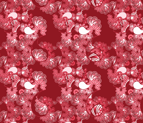 Paisley Wave Red and White fabric by joanmclemore on Spoonflower - custom fabric