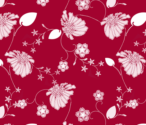 Daisy_Chain_in_Red fabric by joanmclemore on Spoonflower - custom fabric