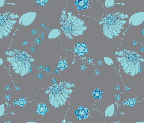 Daisy Chain Blue and Gray fabric by joanmclemore on Spoonflower - custom fabric