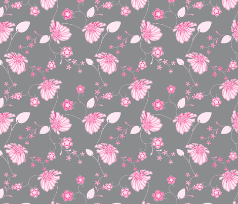 Daisy Chain Pink and Gray fabric by joanmclemore on Spoonflower - custom fabric
