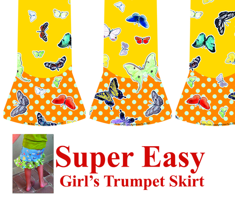 Super Easy Girl's Trumpet Skirt Pattern - Quilting weight only Yellow/Orange fabric by anntuck on Spoonflower - custom fabric
