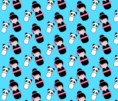 Chinoiserie Kokeshi and Panda fabric by mayabella on Spoonflower - custom fabric