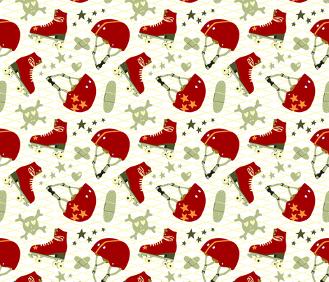 vintage roller derby fabric by cleverviolet on Spoonflower - custom fabric