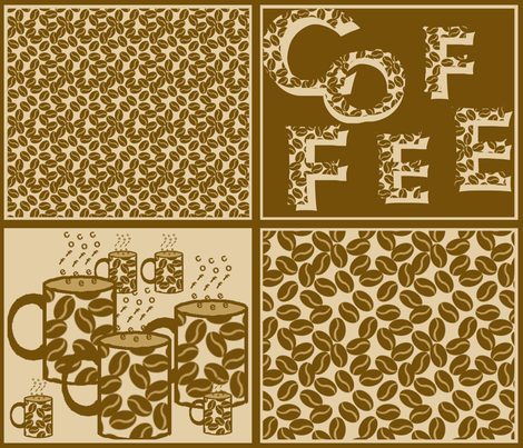 Coffee Bean Patches fabric by nezumiworld on Spoonflower - custom fabric