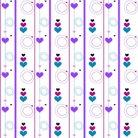 Heartsy Circlets & Stripes - Night Candy - © PinkSodaPop 4ComputerHeaven.com fabric by pinksodapop on Spoonflower - custom fabric
