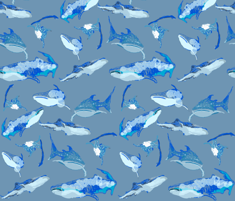whale sharks fabric by margarite on Spoonflower - custom fabric