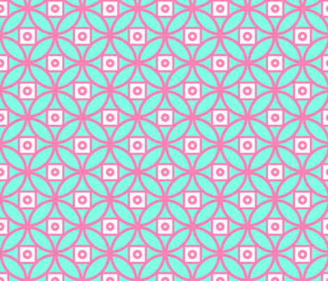 Chinoiserie Coin- Pink and green fabric by mayabella on Spoonflower - custom fabric