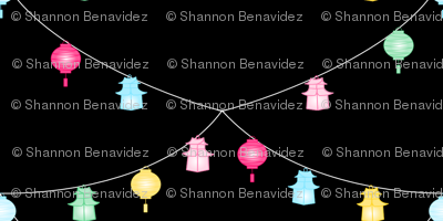 Chinoiserie Lanterns on Black- Small print
