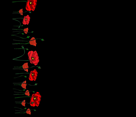 Continuous Red Poppies on Black fabric by cat19 on Spoonflower - custom fabric