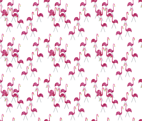 Pink Flamingo Herd  fabric by vo_aka_virginiao on Spoonflower - custom fabric