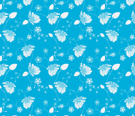 Island Blue Daisy fabric by joanmclemore on Spoonflower - custom fabric