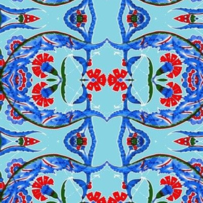 Tahtakale Flowers Stripe allover-Turquise