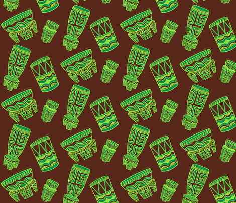 Tahitian drums, suave fabric by sophista-tiki_by_dawn_frasier on Spoonflower - custom fabric