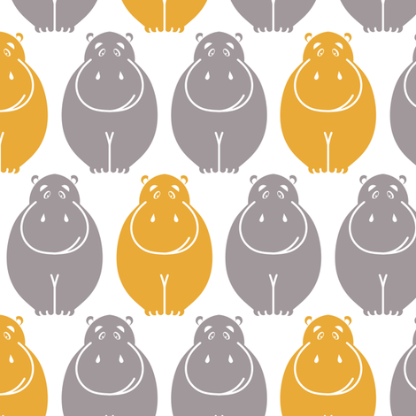 Hippos- yellow pop!_LARGE fabric by newmom on Spoonflower - custom fabric