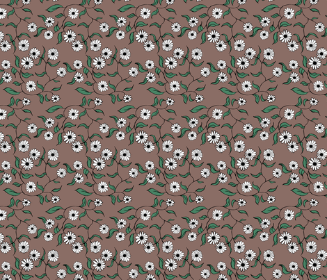 Floral Mocha fabric by pond_ripple on Spoonflower - custom fabric