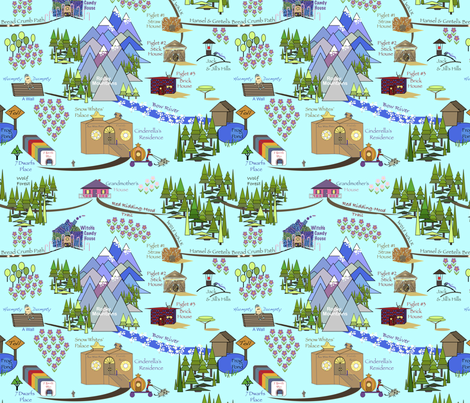 Fairy Tale Map - Blue fabric by petalsfair on Spoonflower - custom fabric