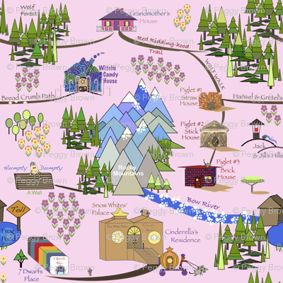 Fairy Tale Land Map - Pink