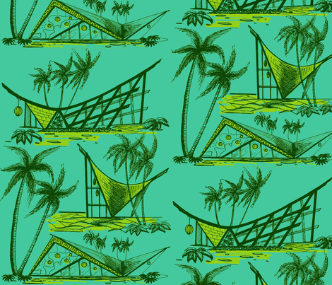 A-frames, poolside fabric by sophista-tiki_by_dawn_frasier on Spoonflower - custom fabric