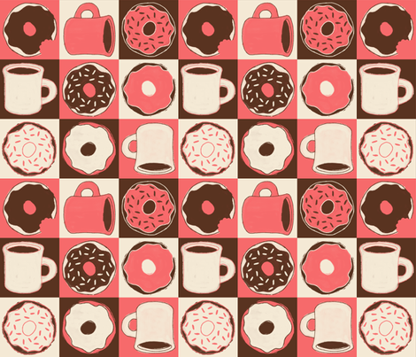 "Coffee & ""Doh""nuts (Peach) fabric by jaydesign on Spoonflower - custom fabric"