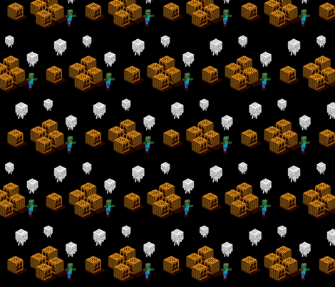 Minecraft Style Halloween fabric by terridee on Spoonflower - custom fabric