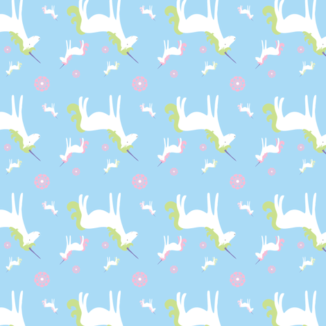 unicorns_blues fabric by wendyg on Spoonflower - custom fabric