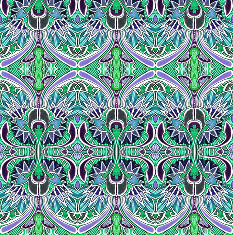 Nouveau_Deco_a_Go_Go_green fabric by edsel2084 on Spoonflower - custom fabric