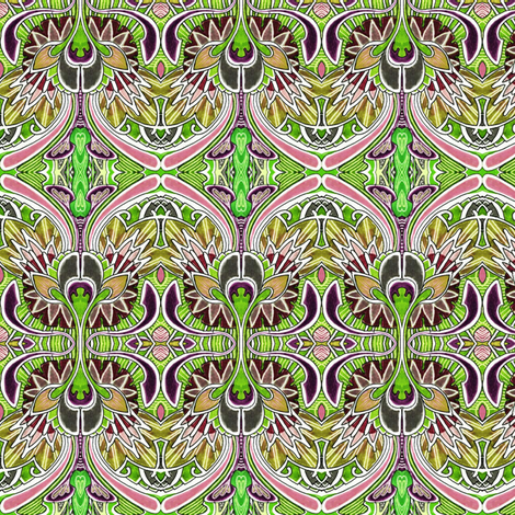 Nouveau Deco a Go Go (in olive) fabric by edsel2084 on Spoonflower - custom fabric
