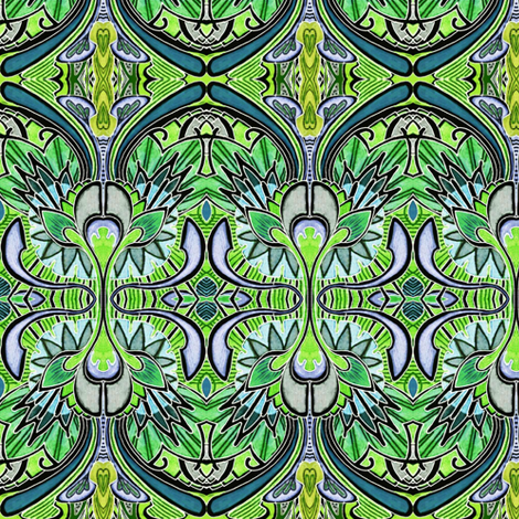 Nouveau Deco a Go Go (in negative green) fabric by edsel2084 on Spoonflower - custom fabric