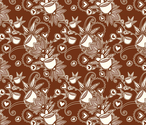 Coffee Flowers fabric by tessiegirldesigns on Spoonflower - custom fabric