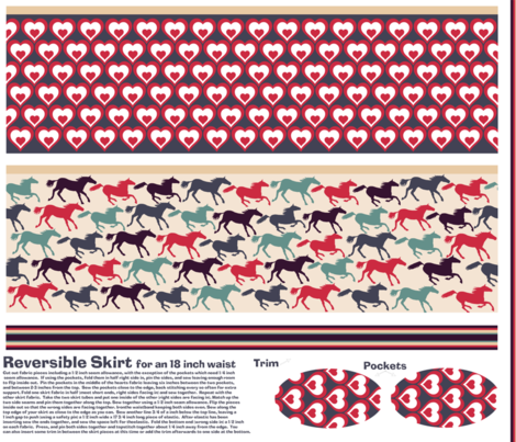 wild horses reversible skirt pattern fabric by babysisterrae on Spoonflower - custom fabric