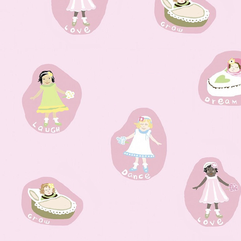 Ruth Emilie - laugh and dream baby girl fabric by camillacarraher on Spoonflower - custom fabric