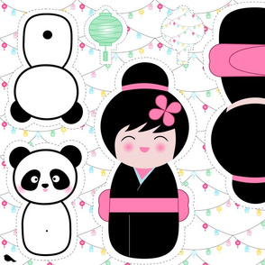 Kokeshi and Panda Cut and Sew Pattern- see description for directions.