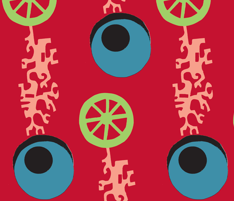 Evil Eyes,Wheels,Coral-ed fabric by boris_thumbkin on Spoonflower - custom fabric