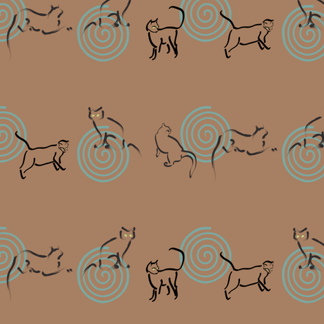 Cats-are-looking-borders-copper25-WIDE-enough-to-cut-strips fabric by mina on Spoonflower - custom fabric