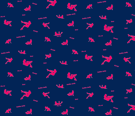 pink roller derby fabric by yonyon on Spoonflower - custom fabric