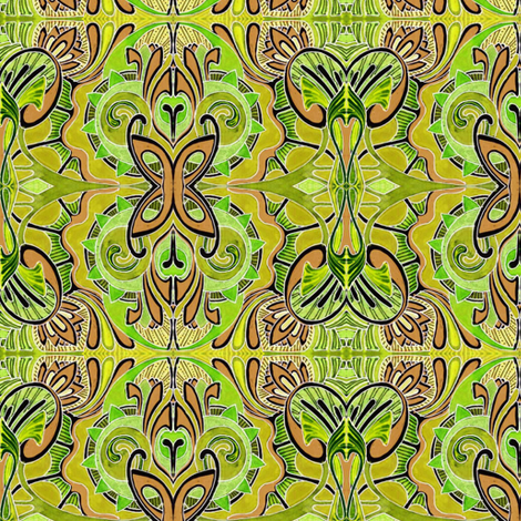 Butterfly Dance (hot mustard) fabric by edsel2084 on Spoonflower - custom fabric
