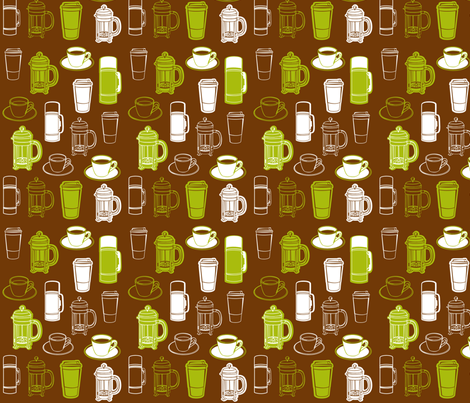 Olive_Coffee_Collage fabric by grass-schultz on Spoonflower - custom fabric