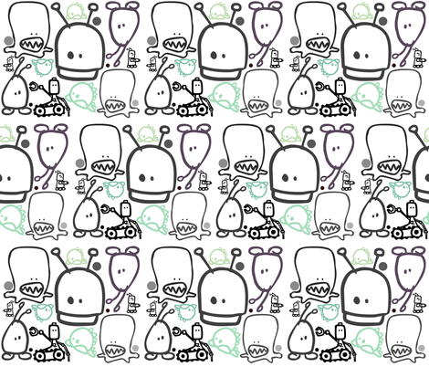 Monster Bots fabric by sprockit on Spoonflower - custom fabric