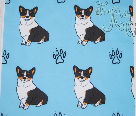 Pembroke Welsh Corgi with paw prints- Tri