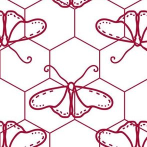 Butterfly Blueprint - 07 - Red and White Positive