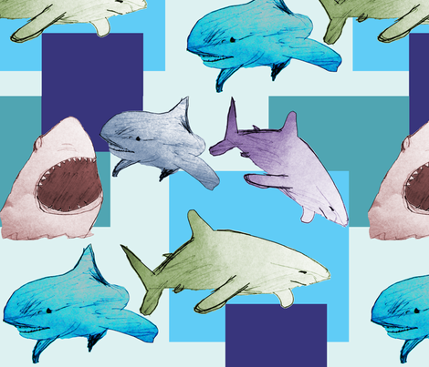 Paper sharks fabric by sev on Spoonflower - custom fabric