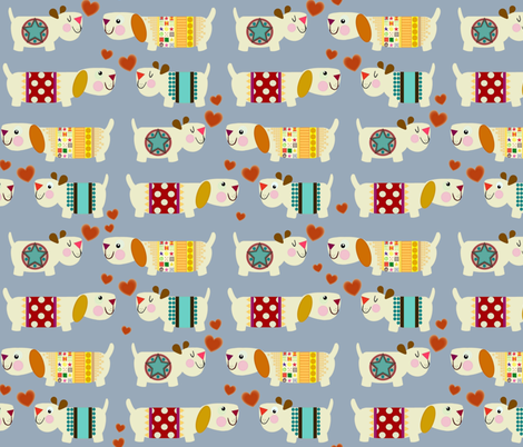 woo woo woofers blue  fabric by scrummy on Spoonflower - custom fabric