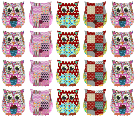 girl and boy small owl plushies fabric by scrummy on Spoonflower - custom fabric