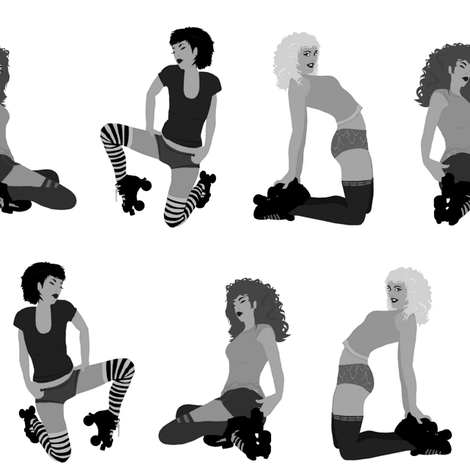 black white roller derby girls fabric by scrummy on Spoonflower - custom fabric